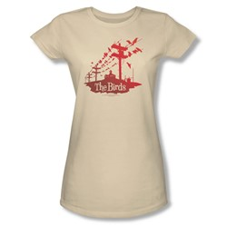 Birds - Womens On A Wire T-Shirt In Cream