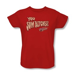 Smokey And The Bandit - Womens Sombitch T-Shirt In Red
