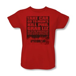 Shaun Of The Dead - Womens List T-Shirt In Red