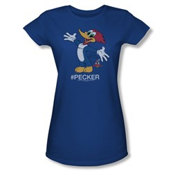 Woody Woodpecker - Womens Hashtag Woody T-Shirt In Royal