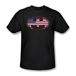 Batman - Mens American Flag Oval T-Shirt In Black
