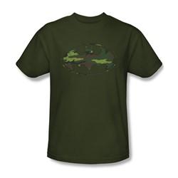 Batman - Mens Distressed Camo Shield T-Shirt In Military Green