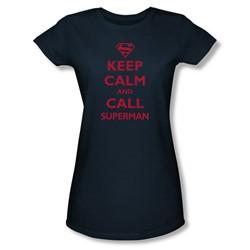 Superman - Womens Call Superman T-Shirt In Navy