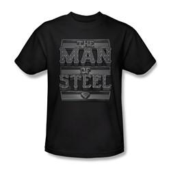 Superman - Mens Steel Text T-Shirt In Black