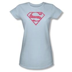 Superman - Womens Word Shield T-Shirt In Light Blue
