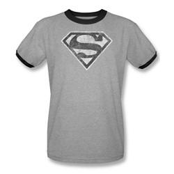 Superman - Mens Grey S Ringer T-Shirt In Heather/Black