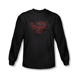 Superman - Mens Brick S Long Sleeve Shirt In Black