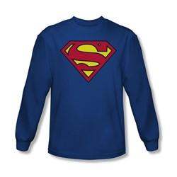 Superman - Mens Classic Logo Long Sleeve Shirt In Royal