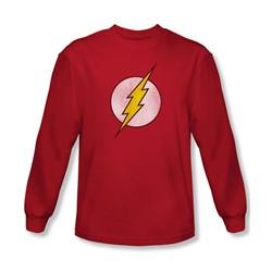 Dc Comics - Mens Flash Logo Distressed Long Sleeve Shirt In Red