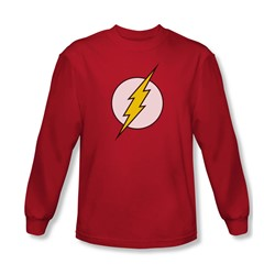 Dc Comics - Mens Flash Logo Long Sleeve Shirt In Red
