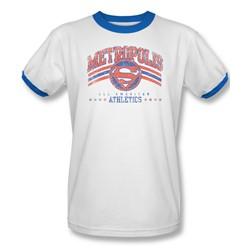 Dc Comics - Mens Metropolis Athletics Ringer T-Shirt In White/Royal