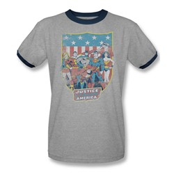 Dc Comics - Mens Jla American Shield Ringer T-Shirt In Heather/Navy