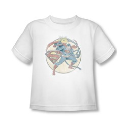 Dc Comics - Toddler Retro Superman Iron On T-Shirt In White
