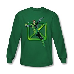 Dc Comics - Mens Green Cross Long Sleeve Shirt In Kelly Green