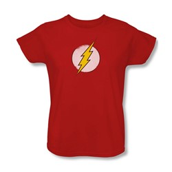 Dc Comics - Womens Rough Flash Logo T-Shirt In Red