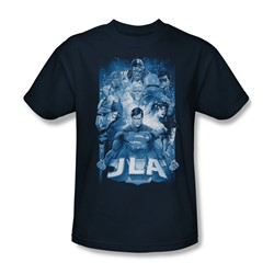 Justice League, The - Mens Burst T-Shirt In Navy