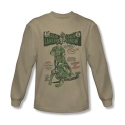 Green Lantern - Mens Beware My Power Long Sleeve Shirt In Sand