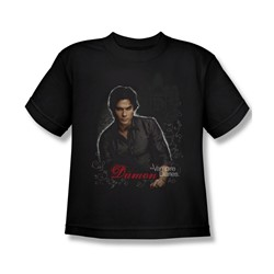 Vampire Diaries - Big Boys Damon T-Shirt In Black