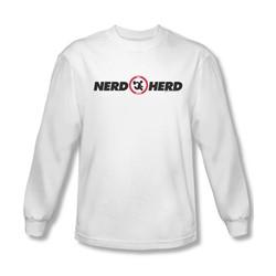Chuck - Mens Nerd Herd Long Sleeve Shirt In White