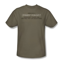 In A Nudist Colony - Adult Khaki S/S T-Shirt For Men