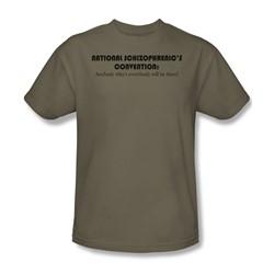 National Schizo Con - Adult Khaki S/S T-Shirt For Men
