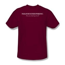 Paranoid Schizophrenic - Adult Cardinal S/S T-Shirt For Men