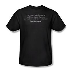 Ate A Mans Brain - Adult Black S/S T-Shirt For Men