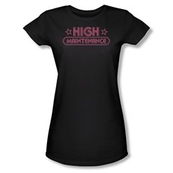 High Maintenance - Juniors Black Sheer Cap Sleeve T-Shirt For Women