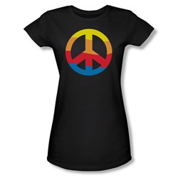 Rainbow Peace Sign - Black Jr Sheer Cap Sleeve T-Shirt For Women