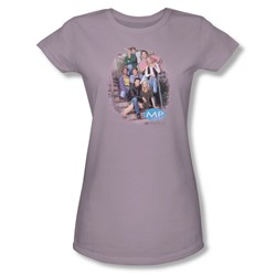 Melrose Place - Orig.Cast Distressed - Jr Sheer Lilac Cap T-Shirt For Women