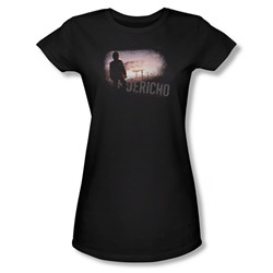 Jericho - Mushroom Cloud - Jr Black Sheer Cap Sleeve T-Shirt For Women