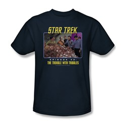 St:Original - The Trouble W -  Tribbles - Adult Navy T-Shirt For Men