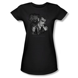 Dean - Mischevious Large - Juniors Black Sheer Cap Sleeve T-Shirt For Women