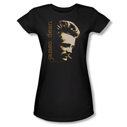 Dean - Smoke - Juniors Black Sheer Cap Sleeve T-Shirt For Women