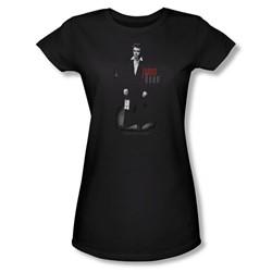 Dean - Love Letters - Juniors Black Sheer Cap Sleeve T-Shirt For Women