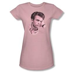 Dean - Thinker 2 - Juniors Pink Sheer Cap Sleeve T-Shirt For Women