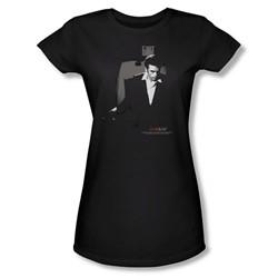 Dean - Exit - Juniors Black Sheer Cap Sleeve T-Shirt For Women