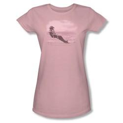 Dean - Desert Dean 2 - Juniors Pink Sheer Cap Sleeve T-Shirt For Women