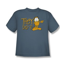 Garfield - They Did It - Big Boys Slate S/S T-Shirt For Boys