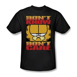 Garfield - Don'T Know Don'T Care - Adult Black S/S T-Shirt For Men