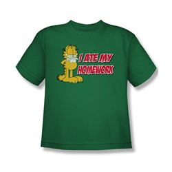 Garfield - I Ate My Homework - Big Boys Kelly Green S/S T-Shirt For Boys