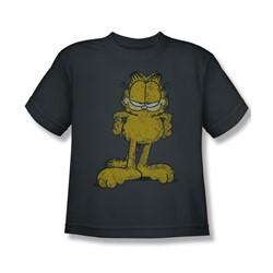 Garfield - Big Ol' Cat - Big Boys Charcoal P Slv T-Shirt For Boys