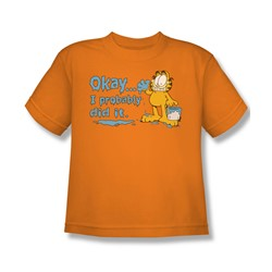 Garfield - I Probably Did It - Big Boys Orange S/S T-Shirt For Boys