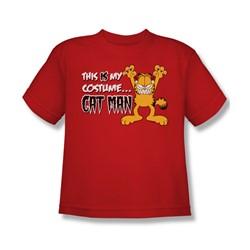 Garfield - Cat Man - Big Boys Red S/S T-Shirt For Boys