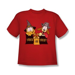 Garfield - Trick Or Treat - Big Boys Red S/S T-Shirt For Boys