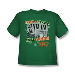 Grandma - Free Santa - Big Boys Kelly Green S/S T-Shirt For Boys