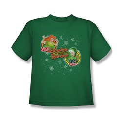Grandma - Naughty Or Nice - Big Boys Kelly Green S/S T-Shirt For Boys