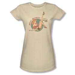Miss Behavin' - Juniors Desert Sand Sheer Top Sleeve T-Shirt For Women