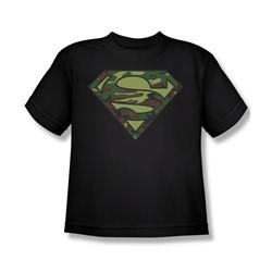Superman - Camo Logo - Big Boys Black S/S T-Shirt -  For Boys