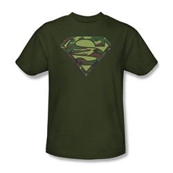 Superman - Camo Logo - Military Green S/S Adult T-Shirt For Men